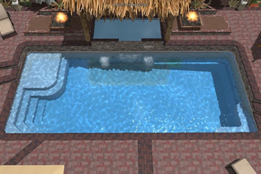 Rectangle Fiberglass Pool Tanning Ledge
