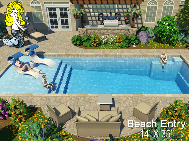 14 X 35 Beach Entry Beach Entry Fiberglass Swimming Pools Tallman Pools