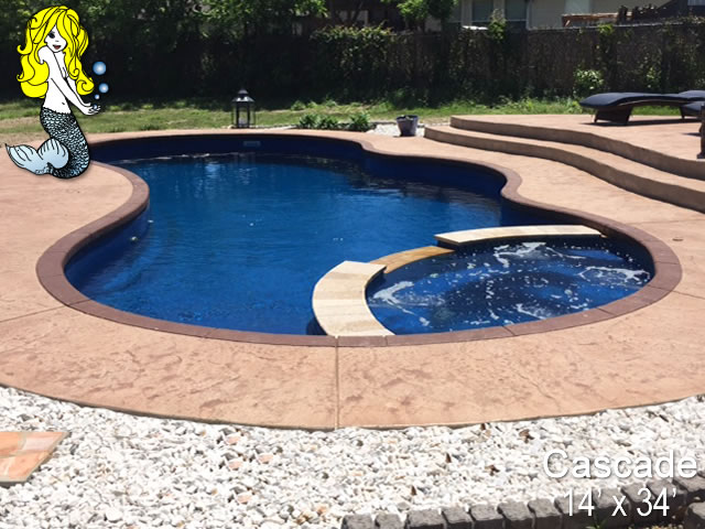 Cascade - Pools with Spa Fiberglass Swimming Pools - Tallman Pools