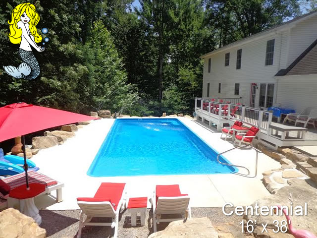 Centennial rectangle fiberglass swimming pools tallman - Centennial swimming pool richmond hill ...