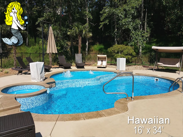 Hawaiian Pools With Spa Fiberglass Swimming Pools