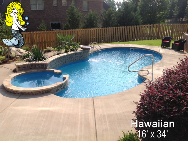 Hawaiian - Pools with Spa Fiberglass Swimming Pools - Tallman Pools