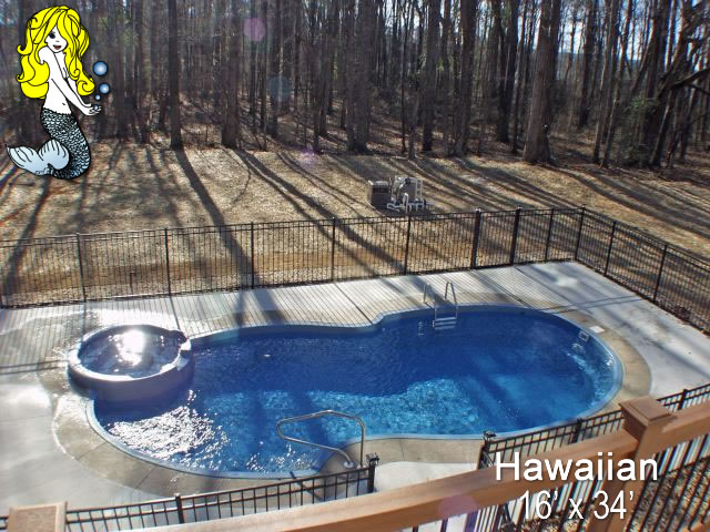 Hawaiian pools with spa fiberglass swimming pools - Concrete swimming pools vs fiberglass ...